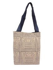 Cream Printed Canvas Tote Bag - By