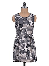 Monochrome Floral Print Sleeveless Dress - By
