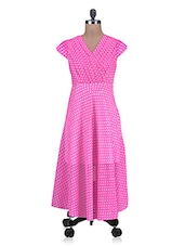 Pink Polka-dotted Pleated Yoke Dress - By