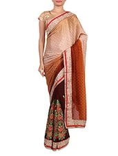 Embroiderd Brown And Beige Jacquard Saree - By