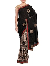Black Jacquard And Beige Printed Saree - By