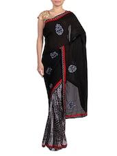 Black Jacquard And Printed Grey Saree - By