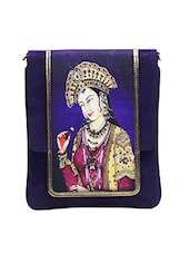 Royal Blue Printed Faux Leather Sling Bag - By