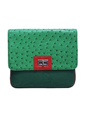 Green Embossed Faux Leather Sling Bag - By