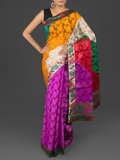 Floral Brasso Work Brocade Border Purple Cotton Art Silk Saree - By