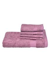 Mauve Cotton Towel Set (Set Of 5) - By