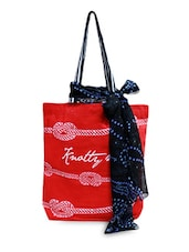 Red Cotton Printed Tote With Scarf - By