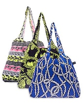 Set Of 3 Cotton Printed Tote - By - 1201555