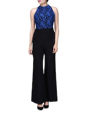 Black And Blue Polyspandex Jumpsuit With Lace Embroidery - By