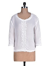White Embroidered Plain Rayon Top - By