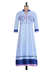 Blue And White Printed Cotton Kurti - By