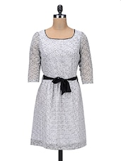 Monochrome Georgette Printed Dress - By