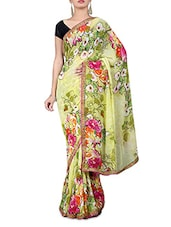 Lime Floral Print Georgette Saree - By