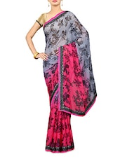Grey And Pink Floral Print Georgette Saree - By