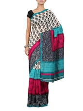 Printed Light Green & Blue Georgette Saree - By