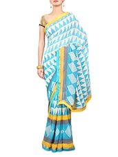 Sky Blue Printed Faux Georgette Saree - By