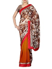 Multicoloured Floral Print Georgette Saree - By