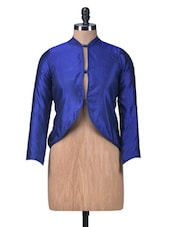 Blue Chanderi Silk Short Jacket - By