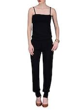Black Sleeveless Rayon Jumpsuit - By