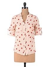 Beige Strawberry Printed Poly Georgette Shirt - By