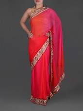 Ombre Georgette Saree With Embroidered Border - By