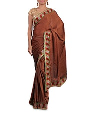 Brown Satin Saree With Multicoloured Border - By