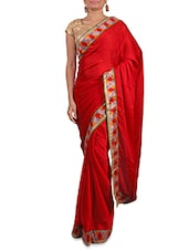 Red Satin Saree With Multicoloured Border - By