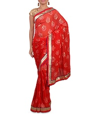 Shaded Red Printed Saree With Gold Border - By