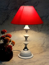 Red Metal And Fabric Table Lamp -  online shopping for Decorative