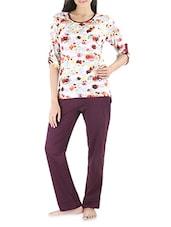 White And Wine Cotton Printed Pajama Set - Nite Flite
