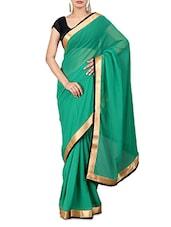 Solid Green Pure Chiffon Saree - By