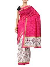 Printed Pink & White Art Silk Saree - By