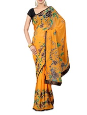 Yellow Floral Print Georgette Saree - By
