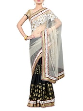Cream And Black Embroidered Net Saree - By