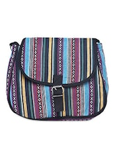Multicolored Canvas Buckled Sling Bag - By - 1206413