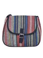 Multicolored Canvas Buckled Sling Bag - By - 1206415