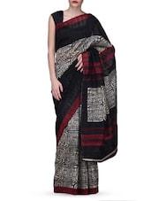 Black Printed Bhagalpuri Silk Saree - Vamika
