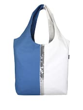 Blue Canvas Medium Shoulder Bag - By