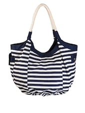 Blue Unlaminated Cotton Canvas Hobo Bag - By