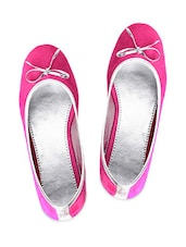 Pink Leatherette Bow Trim Ballerinas - By