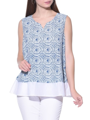 Blue and white sleeveless chanderi silk layered top