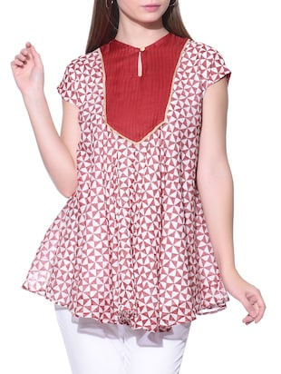 Red and white chanderi silk printed top