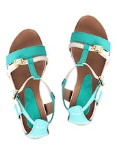 White And Green Leatherette Buckled Flats - By