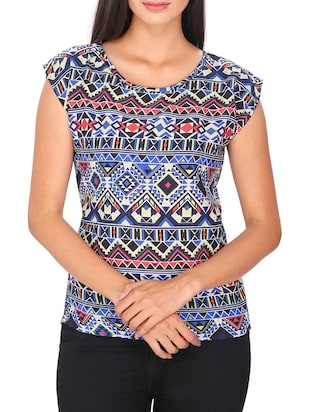 multi colored Printed Poly crepe Top