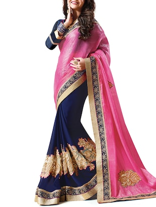 multi georgette embroidered saree