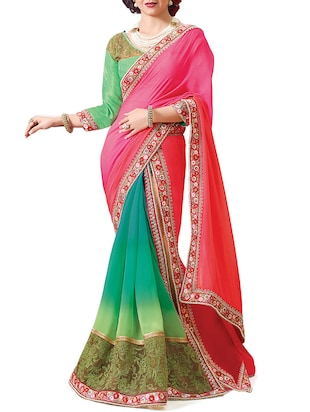 green & pink half & half saree