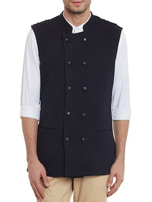 solid black cotton nehru jacket