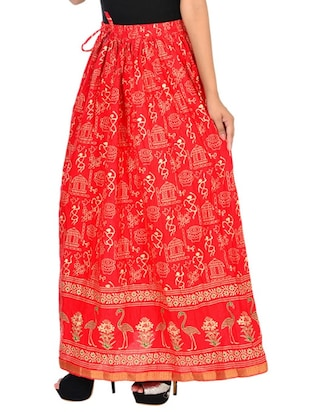red cotton flared skirt - 12086521 - Standard Image - 2