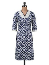 Blue Lace Trimmed Printed Cotton Kurta - By