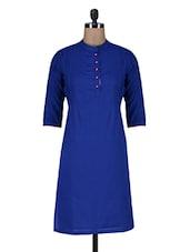 Royal Blue Cotton Kurti - By